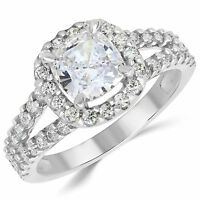 14K Solid White Gold CZ Cubic Zirconia Solitaire Engagement Ring 1.5 Ct.