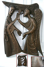 ancien bas relief bronze allemand Ange Gabriel réjouis toi Marie freu dich Maria