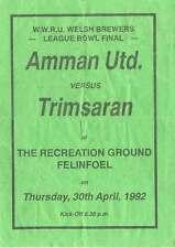 Amman United v Trimsaran 1992 West Wales Bowl Final Rugby Programme, Felinfoel