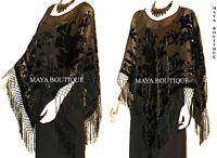 Black Silk Burnout Velvet Poncho Shawl Fringe Top Maya Matazaro One Size