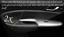Amarillo Stitch encaja Honda Civic 06-12 2x Frontal Puerta Tarjeta Ribete Cuero cubre sólo