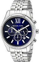 Michael Kors MK8280 Lexington Chronograph Navy Dial Silver Tone Men's WristWatch
