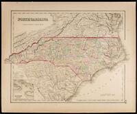 Mapa antigua [1857,Colton] : Estado de Caroline Norte. Map of North Carolina