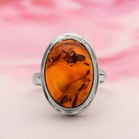 Oval Cab Rare Fossil Amber Gemstone 925 Sterling Silver Stackable Women Ring