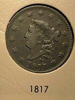 1817 Philadelphia Mint Copper Coronet Head Large Cent 13 Stars Ch XF