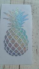 Pineapple Yeti RTIC tumbler decal 3.5 h. Beach Silver Holographic small glitter.