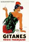 Art Print  Gitanes  Cigarette Smoke Pretty Girl Regie Francaise Poster