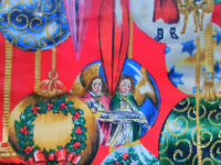 2 vintage European Christmas ornaments amazing cotton fabric curtains drapes!