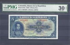 COLOMBIA  BANKNOTES $5 1926 PMG CERTIFIED 30 NET VERY FINE