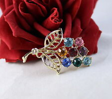 Vintage Colorful Rhinestone Flower  Gold tone  Pin Brooch CAT RESCUE