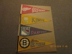 NHL Lot of 4 Vintage 1970 Red Wings Kings Rangers & Bruins Logo Hockey Pennants