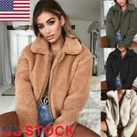 Women's Lady Winter Teddy Bear Fleece Fur Fluffy Zip Coat Jackets Jumper Outwear