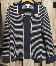 Talbots Womens XL Cardigan Double Breasted Sweater Striped Nautical P1