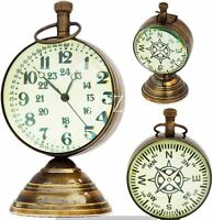 Brass Nautical Desk Clock Vintage Table Top with Compass Numeric Dial, Beautiful