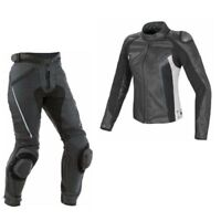 MEN MOTORBIKE COWHIDE LEATHER SUIT MOTORCYCLE SUIT JACKET TROUSER 1 or 2-PIECE