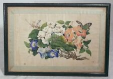 Antique Vintage Chinese Fine Early Export Painting Floral Study Pith Rice Paper