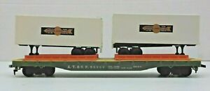 VTG TYCO HO SCALE 50' A.T.& S.F. #90806 FLAT CAR / 2 COOPER JARRETT PIGGYBACK'S