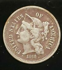1868 United States Three Cent 3c Nickel