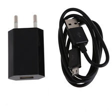 Black 2in1 USB Charging Cable Power Adapter EU Plug for Samsung Galaxy Mobile