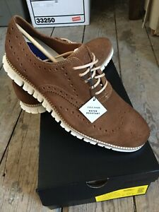 NEW Cole Haan Zerogrand WR Suede Wingtip Shoes Bourbon Brown/Iv Size 9.5M $190