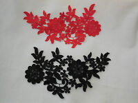 Red OR black floral lace applique / dress sewing lace motif for sale.25.5cmx14cm