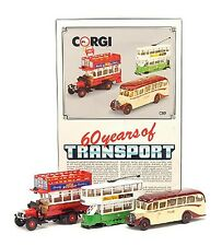 CORGI C89 60 YEARS OF TRANSPORT Thornycroft bus / Bedford coach /Tram model set