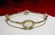 R.J. GRAZIANO GOLD TONE GREEN OVAL CRYSTAL STONE BANGLE BRACELET