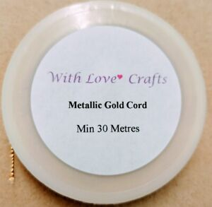 Metallic Gold Cord - min 30m x ~0.7mm Excellent for Macrame/Kumihimo Cord
