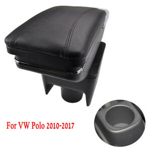 Black Car Centre Console Armrest Rotatable For Polo VW Vento 2010-2017 Storage