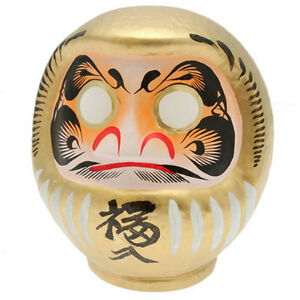 """Japanese 8"""" Gold Daruma Doll Wish Making Rich Wealth Home Business Made in Japan"""