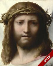 JESUS CHRIST WEARING CROWN OF THORNS PAINTING CHRISTIAN BIBLE ART CANVAS PRINT