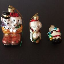 Ameri  Christmas Set of 3 Tree Ornaments 2 Dogs In Boots Santa Claus