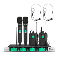 4 Channel Pro UHF Audio Wireless Microphone System 2 Handheld 2 Headset Lavalier