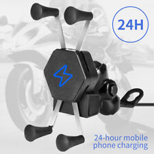 Motorcycle Bike Cell Phone GPS Handlebar Mirror Mount Holder USB Charger US