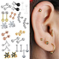 Surgical Ear Cartilage Nose Ring Lip Studs Tragus Helix Piercing Body Jewelry