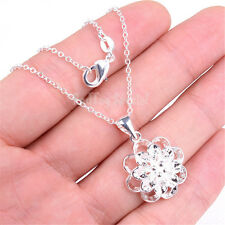 """925 Sterling Silver Sparking Multiple Flower Pendant + 18"""" Chain Necklace Q401"""