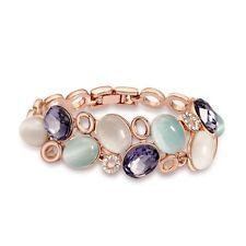 Multi Colored Simulated Cat Eye Purple Swarovski Crystal Element Bracelet Bangle