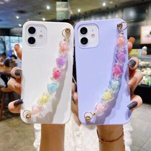 3D Love Heart Crystal Wrist Chain Phone Case For Samsung A51 A71 A72 A12 Note 20