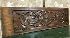 Scroll leaf sea horse carving pediment Atinque french oak architectural salvage