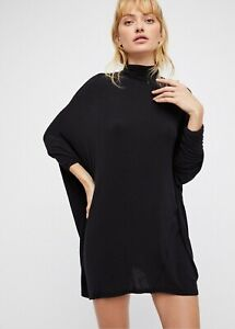 Free People Black Terry Turtleneck Top BNWT Size Med RRP $78