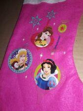 "Disney Princess Christmas Holiday Pink GIRLS 18"" Felt Cuff Stocking Ornament NWT"