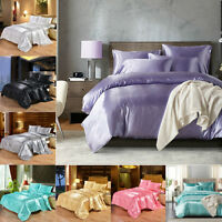Satin Bed Sheet Set Flat Fitted Sheets PillowCases Bedding Sets Silk-Soft Linens