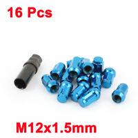 Car Blue M12x1.5 Wheel Lock Tyre Tuner Lug Nut 16 Pcs w Withdrawal Tool