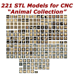 "NEW 221 3d STL Models - ""Animal Collection"" for CNC relief artcam 3d printer"