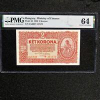 1920 Hungary 2 Korona, Pick # 58, PMG 64 Choice Unc.