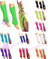 New Girls Teen 80's Dance Wear Plain LegWarmer Fishnet Gloves Tutu Legwarmer Set