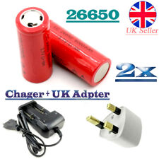 2pcs 3.7V 6000mAh Li-ion Lithium 26650 Rechargeable Battery Flat Top+ UK Charger