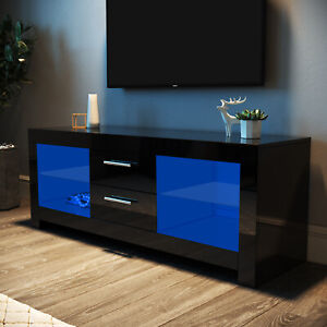 TV Unit Cabinet Black High Gloss Entertainment With LED Light & Drawers 130cm