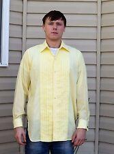 Vintage 70's Men's BROOKS BROTHERS Brookscloth Yellow Tuxedo Shirt- Size Medium