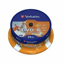25 Verbatim DVD-R Full Face Inkjet Printable 4.7 GB (16x) 120Min 43538 Spindle